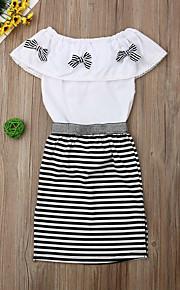 Děti Dívčí Aktivní Proužky Mašle / Rozparek Krátký rukáv Standardní Standardní Bavlna Sady oblečení Bílá