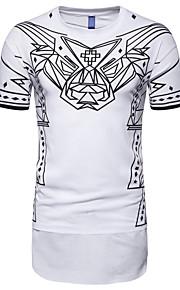 T-skjorte Herre - Stripet, Trykt mønster Hvit XL