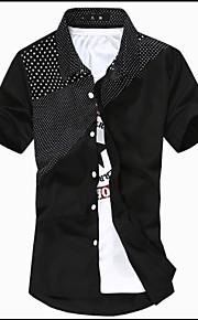Heren Overhemd Kleurenblok Wit XL