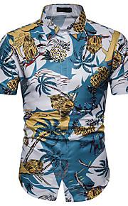 Heren Print Overhemd Bloemen blauw XL