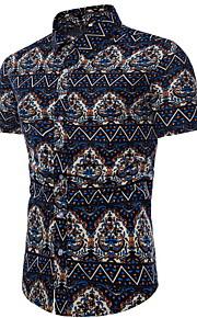Hombre Camisa Geométrico Azul Marino XXXL