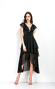 A-Linie Hluboký výstřih Asymetrické Šifón Šaty s Vrstvy podle LAN TING Express