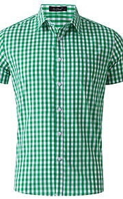Hombre Camisa Houndstooth Rosa L