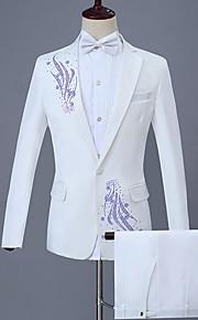 Hombre trajes, Geométrico Solapa de Pico Poliéster Blanco XXL / XXXL / XXXXL