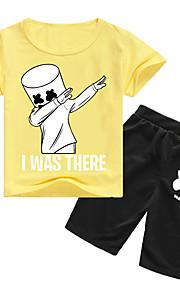 Děti Chlapecké Aktivní / Základní Tisk Krátký rukáv Bavlna / Spandex Sady oblečení Fialová
