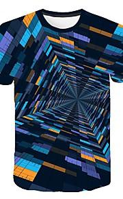 Hombre Estampado Camiseta Geométrico / Bloques / 3D Arco Iris XXXXL