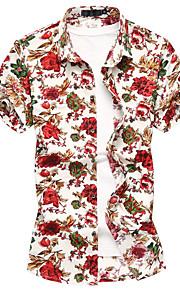 Heren Print Overhemd Geometrisch Rood XXXXL