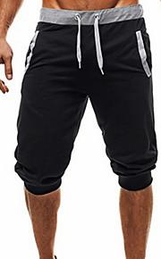Hombre Básico Shorts Pantalones - Un Color Negro