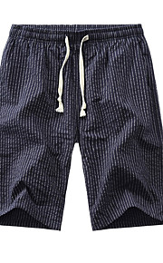 Hombre Básico Chinos Pantalones - A Rayas Azul Marino