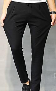 Hombre Básico Chinos Pantalones - Un Color Negro