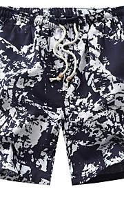 Hombre Básico Shorts Pantalones - Estampado Negro