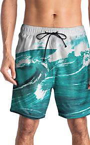 Herre Sporty / Basale Chinos / Shorts Bukser - Trykt mønster / Tropisk / 3D Print Blå