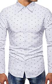 Heren Print Overhemd Geometrisch Wit XXL