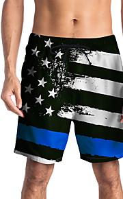 Herre Sporty / Basale Chinos / Shorts Bukser - Multi Farve / Flag Sort