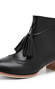 Naisten PU Kevät / Syystalvi Vintage Bootsit Paksu korko Pyöreä kärkinen Nilkkurit Tupsuilla Beesi / Harmaa / Ruskea