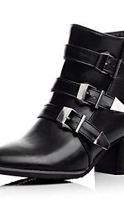 Naisten PU Syystalvi Vintage / Englantilainen Bootsit Paksu korko Terävä kärkinen Soljilla Musta / Harmaa / Punainen / Juhlat