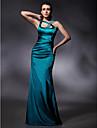 Trompetă / Sirenă Curele de Lungime Podea Satin Stretch Spate Deschis / Stil Vedetă Seară Formală Rochie cu Mărgele / Drapat Părți de TS Couture®