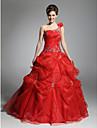 De Baile Assimetrico Longo Organza Evento Formal Vestido com Micangas / Saia com Pregas em Cascata de TS Couture®