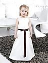 A-line Printesa podea lungime floare fată rochie - satin fără buzunar bateau gât cu panglica de lan ting bride®