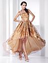 A-line prinsesse højhals asymmetrisk sweep / børste tog organza aftenkjole med knapper af ts couture®