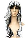 Capless syntetisk svart blandat vitt lockigt maskerad peruk