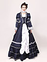 روكوكو فيكتوريا القرن ال 18 كوستيوم نسائي فساتين أزياء الحفلة حفلة تنكرية أزرق الحبر عتيقة تأثيري كم طويل طويل