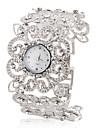modă aliaj analog cuarț brățară de ceas în formă de floare femei (argint)