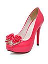 patent läder högklackade peep toe pumpar med strass och pärla rosett (fler färger)