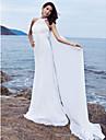 Coloană / Teacă Halter Mătura / Trenă Șifon Made-To-Measure rochii de mireasa cu Drapat de LAN TING BRIDE®