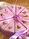 Rotund Pătrat Piramidă Hârtie perlă Favor Holder cu Panglici Imprimare Flori Cutii de Savoare