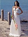 Coloană / Teacă Curele de Mătura / Trenă Satin Stretch Made-To-Measure rochii de mireasa cu Mărgele de LAN TING BRIDE® / Open Back