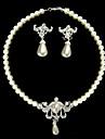 fildeș perle două piese stralucire doamnelor colier si cercei set de bijuterii (38 cm)