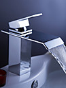 Bathroom Sink Faucet - Waterfall Chrome Centerset One Hole Single Handle One Hole