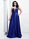 Linia -A In Formă de Inimă Lungime Podea Satin Stretch Seară Formală Rochie cu Detalii Cristal / Pliuri de TS Couture®