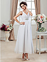 A-Line Princess V Neck Ankle Length Chiffon Custom Wedding Dresses with Beading Side-Draped Ruched by LAN TING BRIDE®