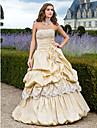 De Baile Sem Alcas Longo Tafeta Inspiracao Vintage Evento Formal Vestido com Micangas / Renda / Flor de TS Couture®