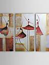 HANDMÅLAD Abstrakt Horisontell Tre paneler Kanvas Hang målad oljemålning For Hem-dekoration
