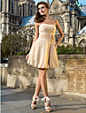A-line prințesă dragoste dragoste genunchi lungime sifon cocktail petrecere rochie cu draping de ts couture®