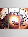 handmålade abstrakta oljemålningar med sträckt ram - set om 3