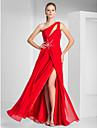 Vaina / columna un hombro piso longitud chiffon vestido de fiesta con rebordear por ts couture ®