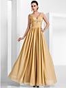 A-line printesa v-gât pardoseală lungime sifon rochie seara cu draping de ts couture®