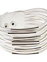 Multistrat Piele Metal inel brățară largă (alb)