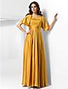 Linia -A Prințesă Lungime Podea Satin Stretch Seară Formală Bal Militar Rochie cu Drapat Dantelă Ruching de TS Couture®