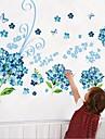 Blå blomma Fjäril Wall Sticker