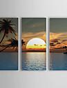 pictură în ulei peisaj mare și soare set de 3 cu elastic cadru 1307-ls0101 pictat panza