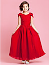 A-Line Princess Ankle Length Flower Girl Dress - Chiffon Sleeveless Jewel Neck with Bow(s) Buttons Draping Ruched by LAN TING BRIDE®