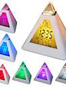 7 eșuat culori schimbătoare în formă de piramidă alarmă digitale termometru calendar ceas (alb, 3xAAA)