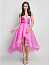 A-line dragoste dragoste genunchi lungime asimetrice organza prom rochie cu cristal de ts couture®