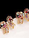 Pentru femei Cercei Stud Iubire Cute Stil bijuterii de lux costum de bijuterii Ștras Aliaj Bowknot Shape Bijuterii Pentru Petrecere