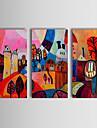 HANDMÅLAD Abstrakt Horisontell, Klassisk Traditionell Hang målad oljemålning Hem-dekoration Tre paneler